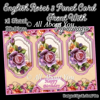 English Roses 3 Panel Card Front