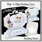 Stand Alone Bracket Card - Wedding Bears (Male to Male)