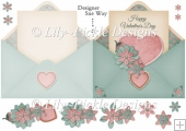 Valentine Heart Envelope Shape Card Green