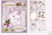 New baby Girl or Boy Card with Insert and Decoupage