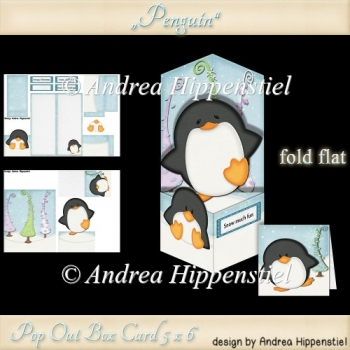 Pop Out Box Card Penguin
