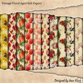 Vintage Floral Aged 8x8 Papers