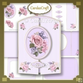 Pink roses gatefold card set