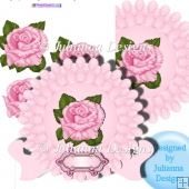 Large Pink Rose Plate and Stand