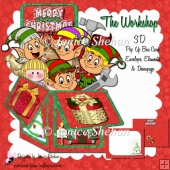 SANTA'S WORKSHOP ELVES 3D POP UP BOX CARD KIT