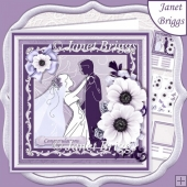 WEDDING BRIDE & GROOM Lavender & Silver 7.8 Decoupage & Insert