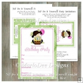 Girly Girl Birthday Party Invitation 6 - Front and Back Included