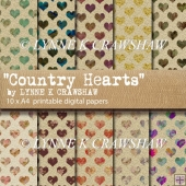 COUNTRY HEARTS - 10 x A4 high quality digital printable papers