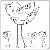 Chickadees Digital Stamp/Line Art