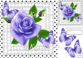 pretty lilac roses on lace with polka dots & butterflies 8x8