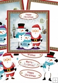 Santa and snowmen christmas decoupage card
