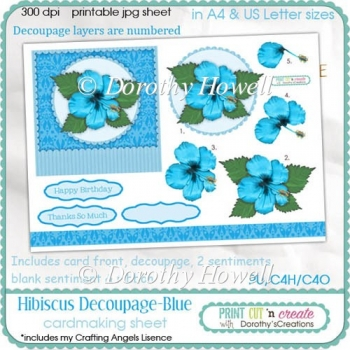 Hibiscus Decoupage Card Front ~ Blue