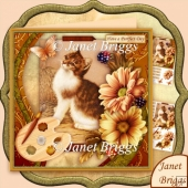 Artist's Canvas Purrfect Day Kitten 7.5 Decoupage Kit