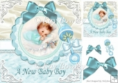 Cute little smiling baby boy wth rattle & bow 8x8