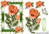 pretty peach pansies with gingham & butterfly A5