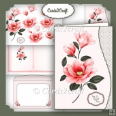 Peachy pink magnolia wavy edge card set