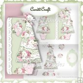 Pink and green shaped Christmas card