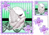 with grace white swan with lilac flowers & black lace 8x8