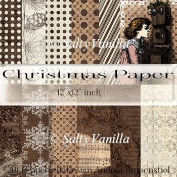 "Brown Christmas background paper 12""x12"" inch"