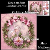Fairy in the Roses - Decoupage Card Front