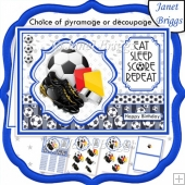 FOOTBALL BLUE A5 Decoupage or Pyramage & Insert Card Kit