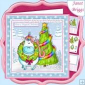 MAGICAL CHRISTMAS UNICORN 7.5 Decoupage & Insert Kit