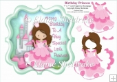 Brunette Birthday Princess With Castle 7 x 7 Topper & Decoupage