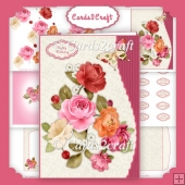 Mixed roses wavy edge card set