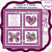 MAROON FLORAL SQUARES 7.5 Quick Layer Card & Insert Kit