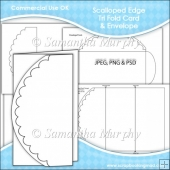 Scalloped Edge Tri Fold Card & Envelope Template Commercial Use