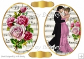 two pretty vintage music toppers with roses & couple