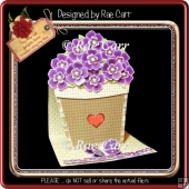 801 Purple Pansies Flower Pot Easel *HAND & MACHINE Formats*