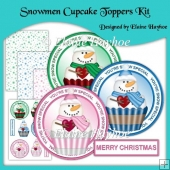 Snowmen Cupcake Toppers Kit