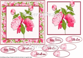 Pink roses with flowerframe 6 inch topper 105
