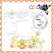 Easter Chicken and Sentiment Digital Stamp
