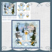 Snow penguin card with decoupage