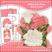 White Satin Rose Spring Card