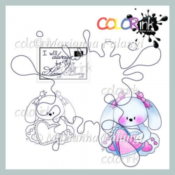 Sitting girl heart bunny and sentiment Digi stamp