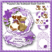 Puppies Lilac Scalloped Easel Card Kit