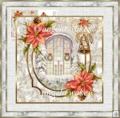 candles in the window 7x7 card with decoupage