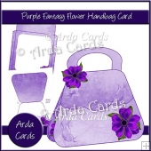 Purple Fantasy Flower Handbag Card