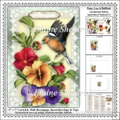 Pansy, Lace & Bullfinch - 5 x 7 Card Kit Decoupage, Insert etc