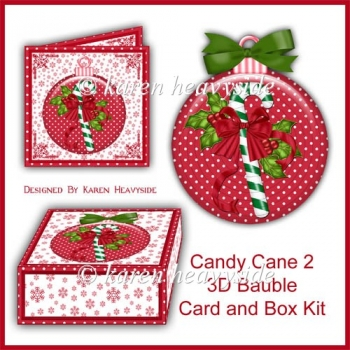 Candy Cane 2 3D Bauble Card And Box Kit