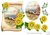 by the sea cornwall with sunflowers on a scroll