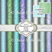 "Faux Embossed Leaf Scrolls Set Two - Ten 8"" x 8"" - PU - 300 dpi"