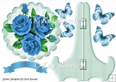 Pretty blue roses on lace with butterflies on a plate & stand