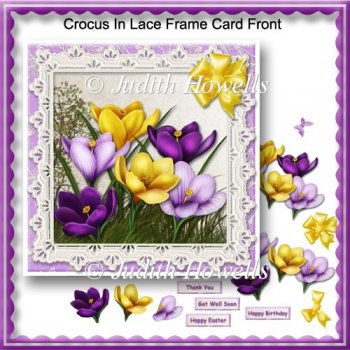 Crocus In Lace Frame Card Front