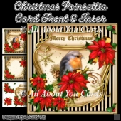 Christmas Poinsettia Card Front & Insert