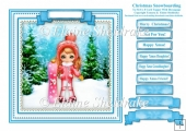 Christmas Snowboarding - Square Card Topper With Family Greeting