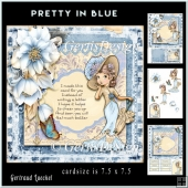 Pretty In Blue Lady Topper Card Kit